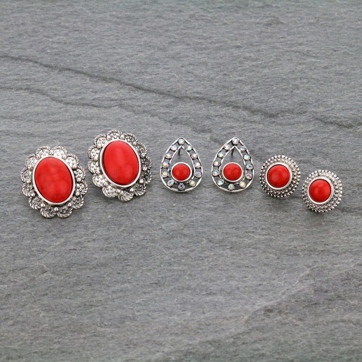 3 Pair Stone Stud Earrings Set-ER1118/COR