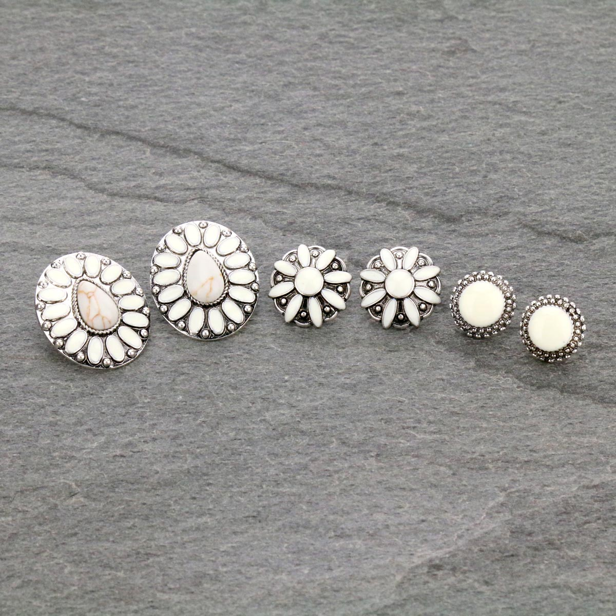 3 Pair Concho Stud Earrings Set-ER1120/NAT