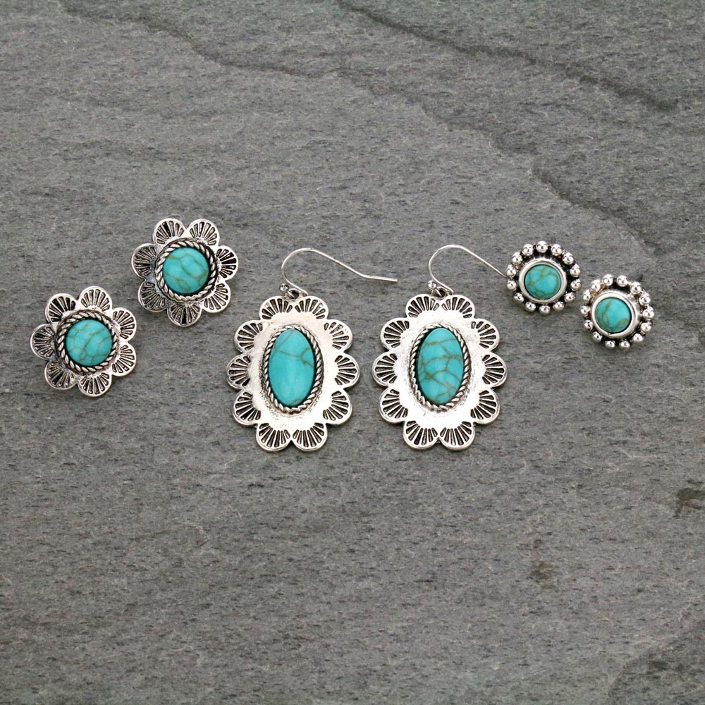 3 Pair Concho Earrings Set-ER1112/TQ