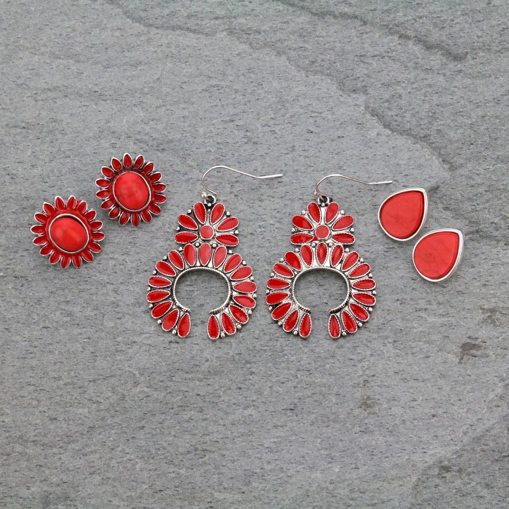 3 Pair Squash Blossom Earrings Set-ER1119/COR