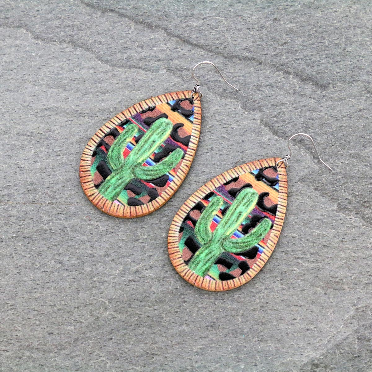 Genuine Leather Cactus Print Teardrop Fish Hook Earrings-ER0993/SE