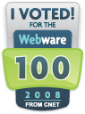 I Voted Webware100 2008 !