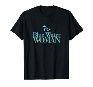 blue water woman blue and green tee