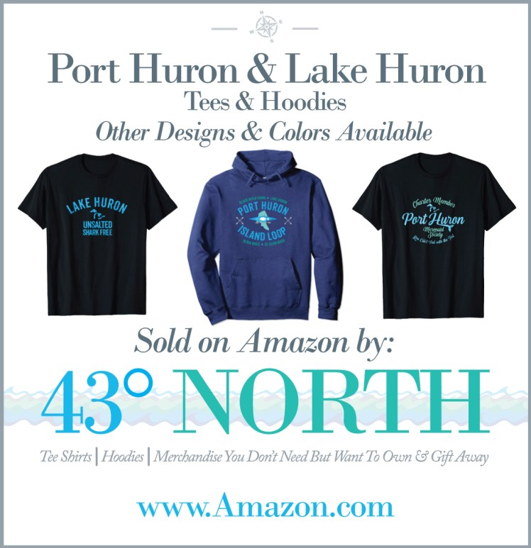 3625 x 375 ad--43 degrees north gifts--port huron island shirts hoodies