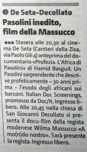 Pasolini, Massucco a Palermo