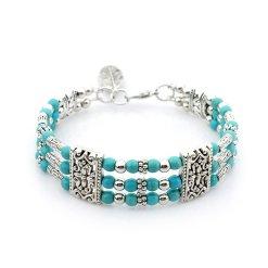 layer silver plated zinc alloy Natural stone bracelet Ms bracelet many colors mix and match