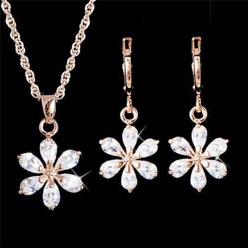 H HYDE Fashion design jewelry Gold Color Women s Girl s sweet flower CZ Chain Necklace