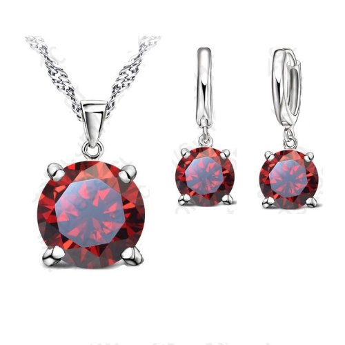 Selling  Sterling Silver Jewelry Sets  Claws Cubic Zirconia CZ Pendant Necklace Earring Fashion