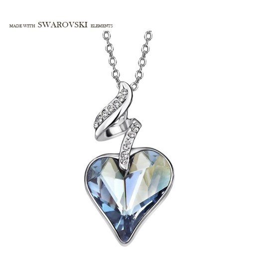 Neoglory Austria Crystal Czech Rhinestone Charm Pendant Long Necklace Love Heart Design Elegant Style Romantic Lady