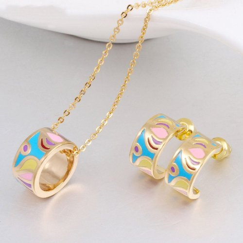 Promotions New Arrival TOP Quality Small Women Enamel Jewelry Sets Elegant Filled Color Design Jewelry Necklace XTLA