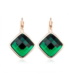 ROXI Brand Earrings For Women Crystal Green Earrings Gold Color Lozenge Dangle Earrings Fashion Jewelry Engagement