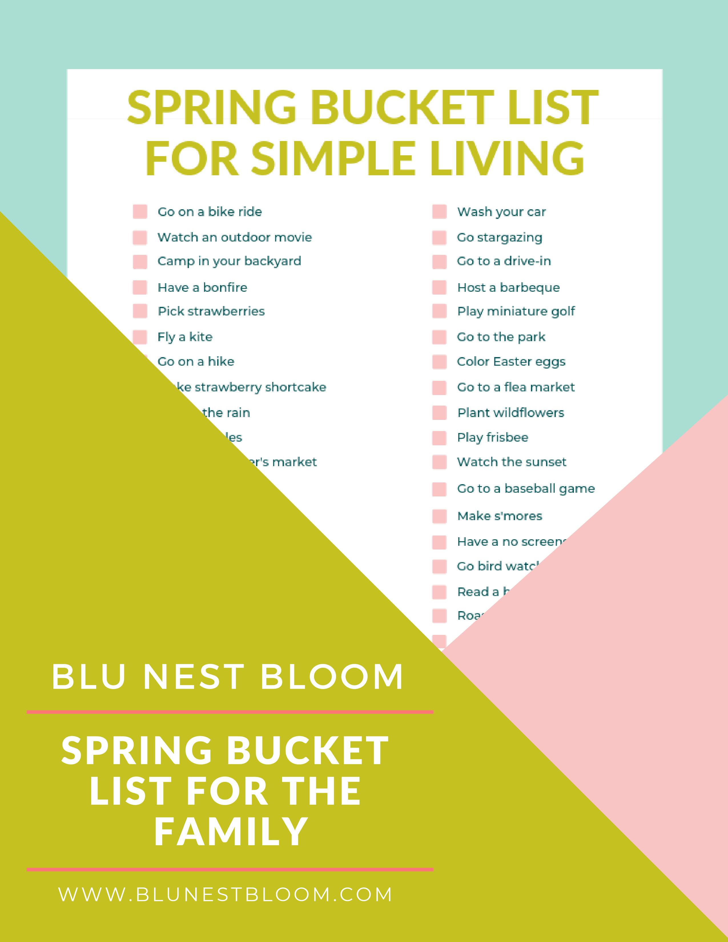 image about Bucket Printable named Spring Bucket Listing Free of charge Printable - Blu Nest Bloom
