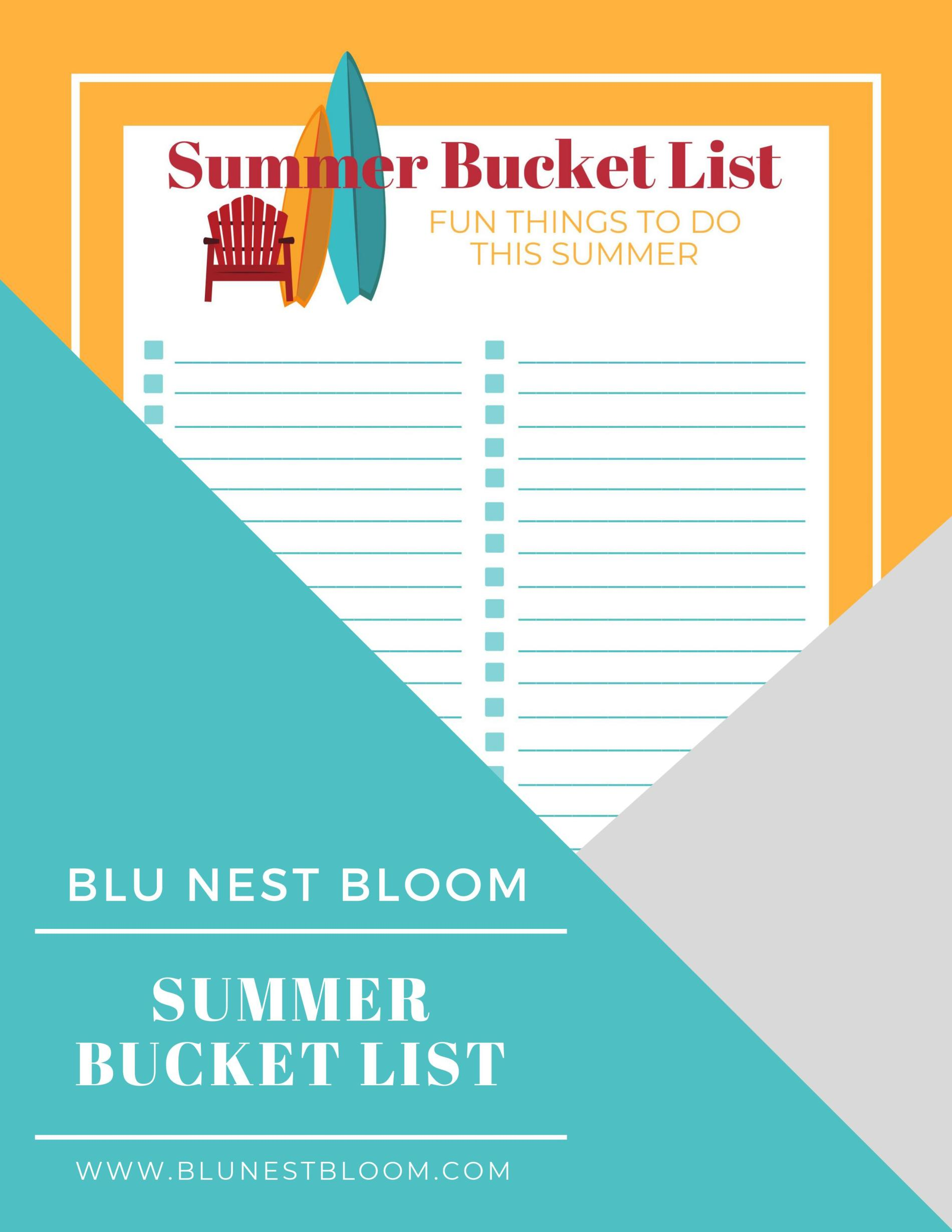 Blank Summer Bucket List Free Printable
