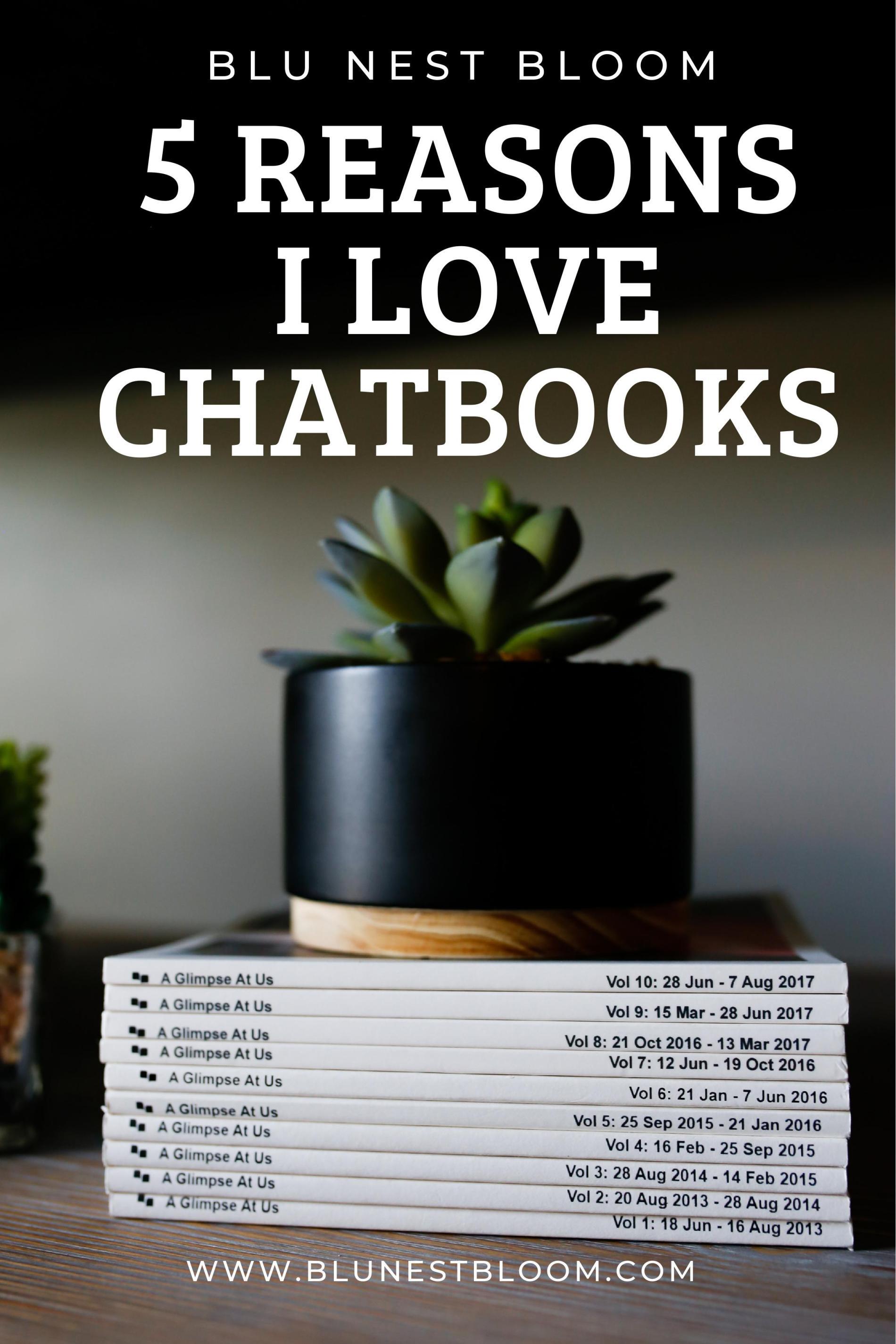 pinterest image with stack of chatbooks photobooks