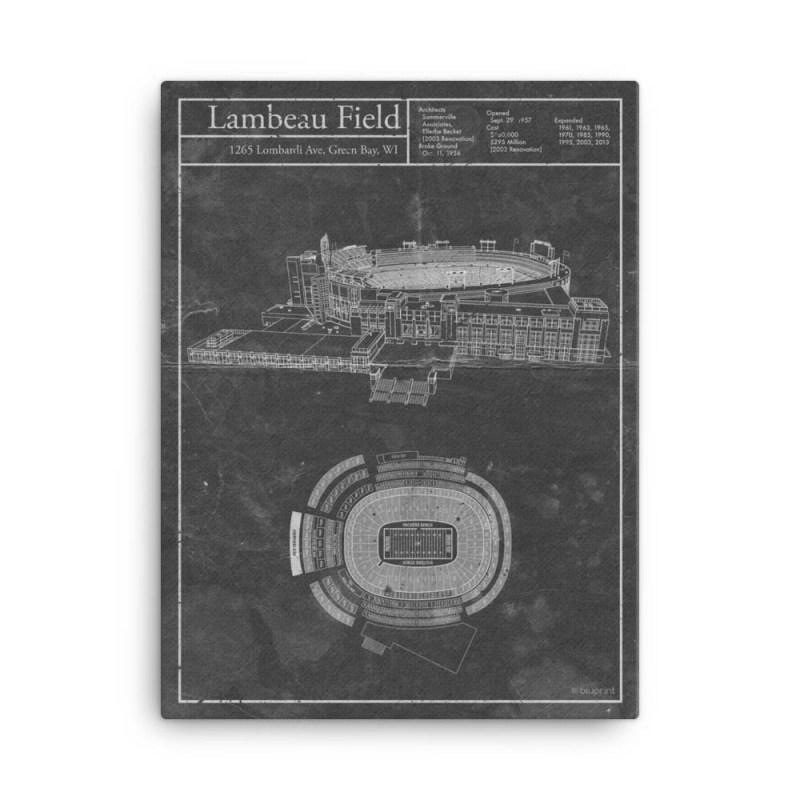 Green Bay Lambeau Field vintage blueprint