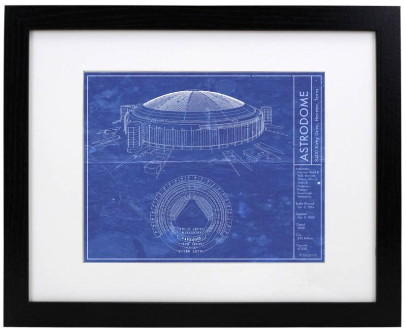 Houston Astrodome vintage blueprint