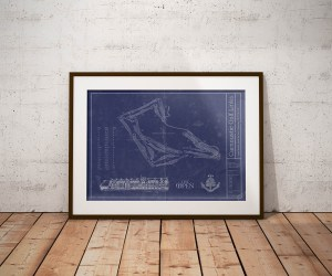 Vintage Carnoustie Golf Links blueprint poster