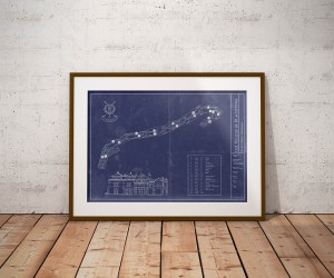 Old Course at St Andrews Golf vintage blueprint