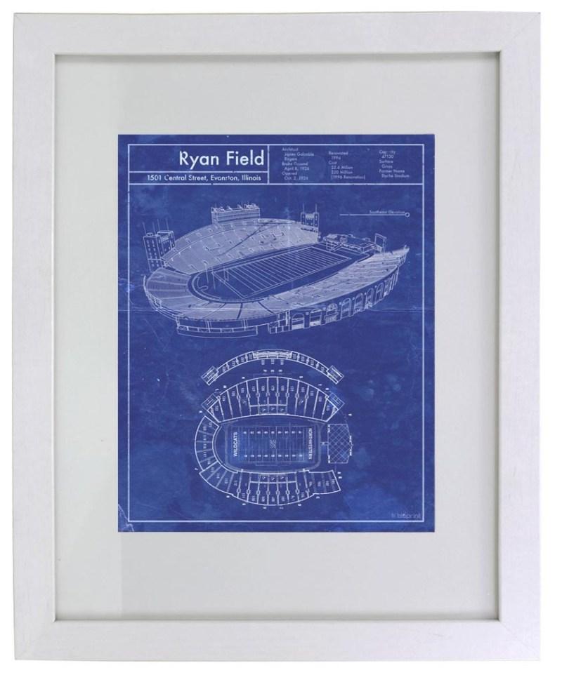 Northwestern Ryan Field vintage blueprint