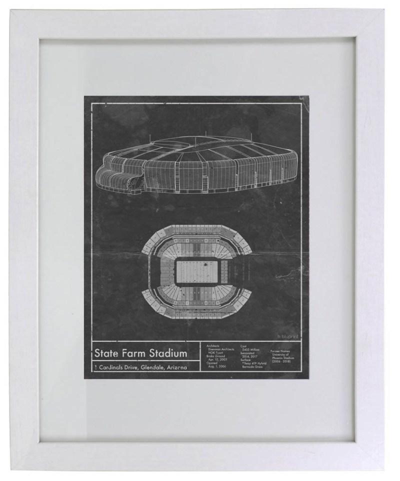 Arizona State Farm Stadium vintage blueprint