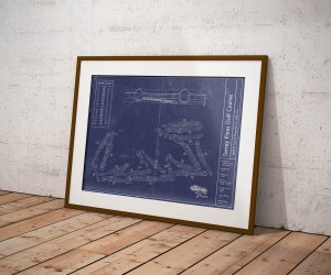 Vintage Torrey Pines South Golf Course blueprint poster