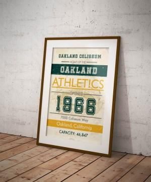 Oakland Coliseum vintage subway art poster