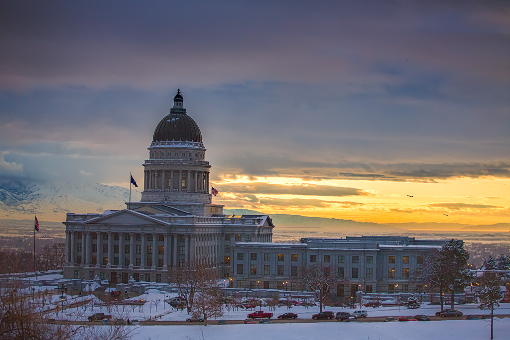 Utah State Capitol at Sunset