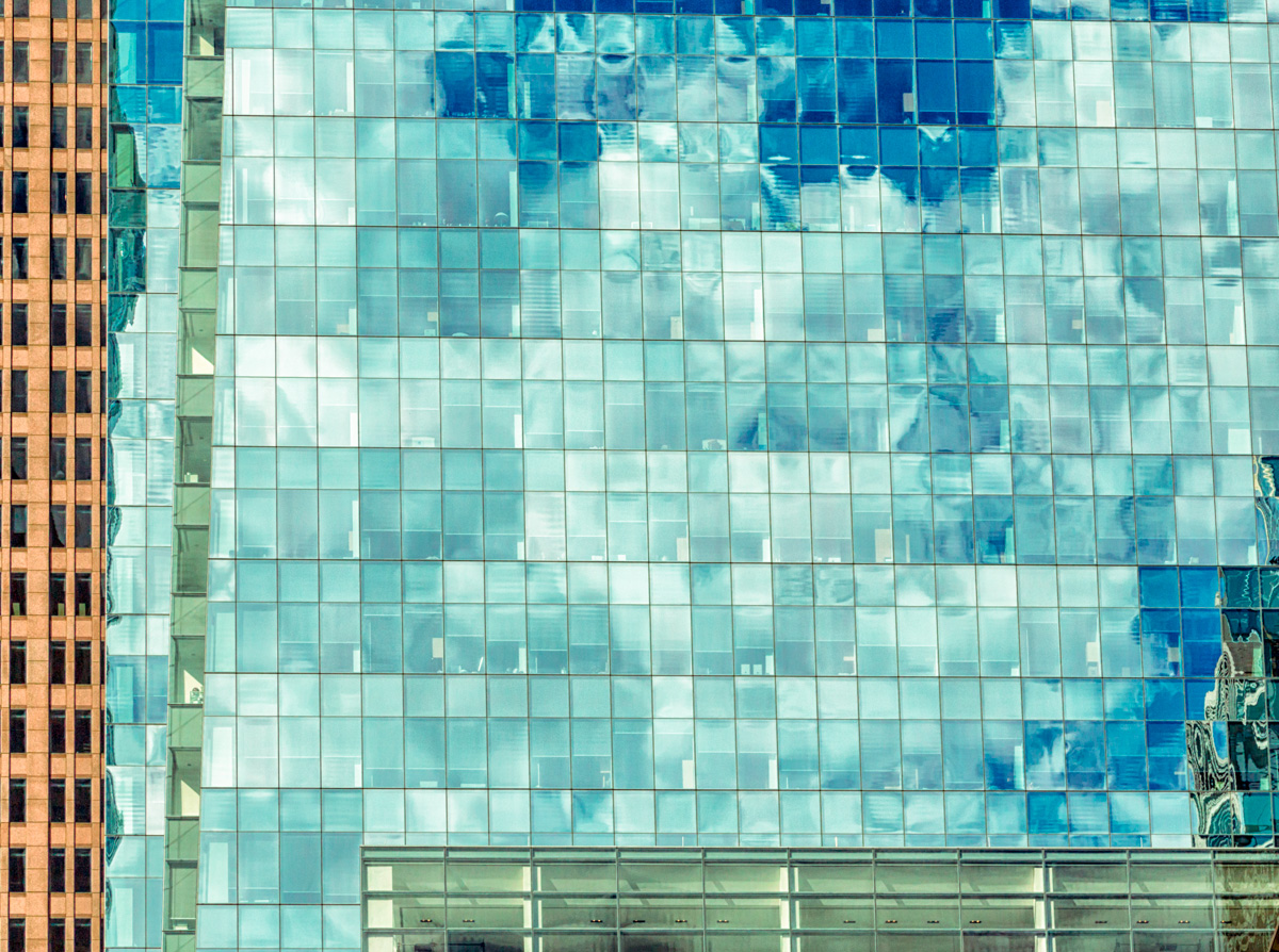Glass House with Pixelated Clouds: Comcast Building in Philadelphia
