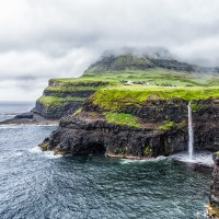 Waterfall at Gásadalur, Faroe Islands | Blurbomat.com