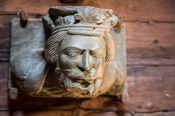 King Sverre of Norway, born in a cave above Kirkjubøur. Looks like a ship's figurehead, literally, mounted on the interior wall of the roykstova, Kirkjubøur, Faroe Islands.