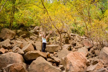 Leta climbs on the rocks at Upper Emerald Pool, Zion National Park, October, 2014.