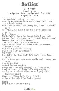 Jeff Beck at Hollywood Bowl 8/10/16. Setlist.