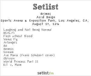 Grimes 8/27/16 @ Fuck Yeah Fest. Setlist.