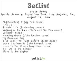Grace Jones 8/28/16 @ Fuck Yeah Fest. Setlist.