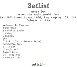 Green Day at Red Bull Sound Space at KROQ 10/19/16. Setlist.