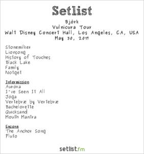 Björk @ Walt Disney Concert Hall 5/30/2017. Setlist.