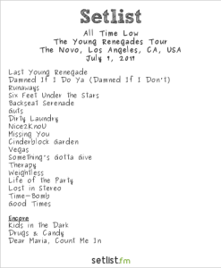 All Time Low @ The Novo 7/7/17. Setlist.