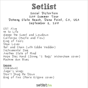 Social Distortion @ The Ohana Fest 9/8/17. Setlist.