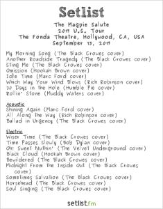 The Magpie Salute @ Fonda Theatre 9/13/17. Setlist.