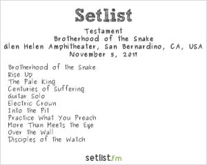 Testament @ Ozzfest Meets Knotfest 11/5/17. Setlist.