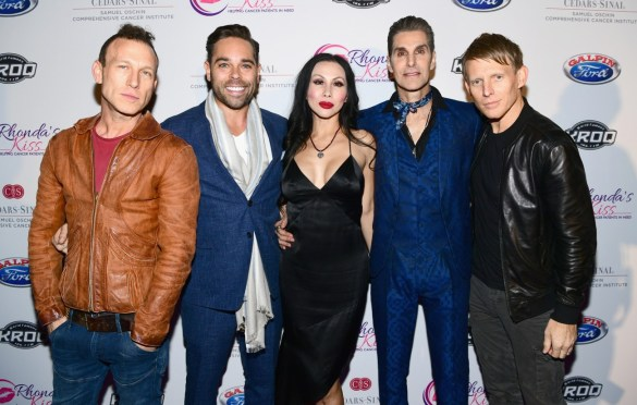 LOS ANGELES, CA - DECEMBER 08: (L-R) Stephen Perkins of Jane's Addiction, Rhonda's Kiss CEO Kyle Stefanski, Etty Lau Farrell and Perry Farrell and Chris Chaney of Jane's Addiction attend the 2017 Rhonda's Kiss Benefit Concert at Hollywood Palladium on December 8, 2017 in Los Angeles, California.  (Photo by Emma McIntyre/Getty Images for Rhonda's Kiss). Used with permission.