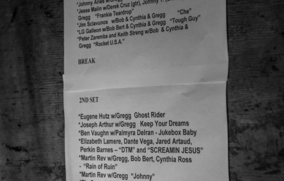 Setlist for Alan Vega's Tribute @ Bowery Electric 1/25/18. Photo by Vivian Wang (@Lithophyte) for www.BlurredCulture.com.