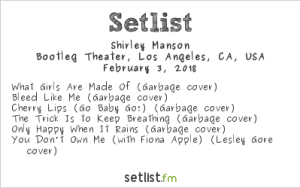 Shirley Manson for Girlschool @ Bootleg Theatre 2/3/18. Setlist.