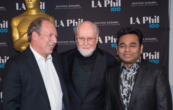 "Hans Zimmer, John Williams and A.R. Rhman at ""The Oscar Concert"" presented by the Academy of Motion Picture Arts and Sciences on Thursday, February 28, at the Walt Disney Concert Hall in Los Angeles. The Oscars® will be presented on Sunday, March 4, 2018, at the Dolby Theatre® in Hollywood, CA and televised live by the ABC Television Network. Photo by Paul Hebert/ (C) A.M.P.A.S. Used with permission."