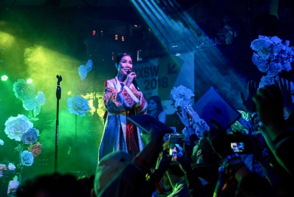 Jhené Aiko @ The Mohawk during SXSW 3/13/18. Photo by Mike Golembo (@Instalembo) for www.BlurredCulture.com.