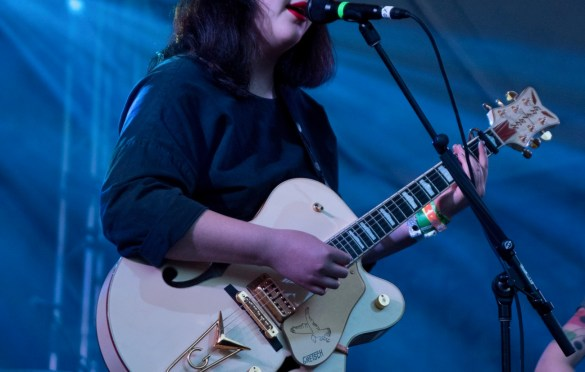 Lucy Dacus @ Stubb's during SXSW 3/14/18. Photo by Mike Golembo (@Instalembo) for www.BlurredCulture.com.