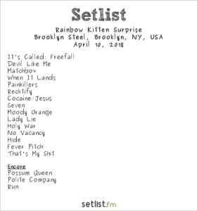 Rainbow Kitten Surprise @ Brooklyn Steel 4/10/18. Setlist.