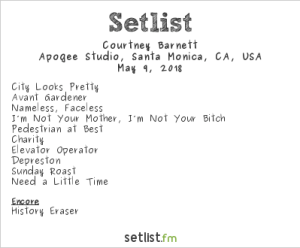 Courtney Barnett @ KCRW'S Apogee Sessions 5/9/18. Setlist.