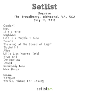 Joywave @ The Broadberry 7/17/18. Setlist.