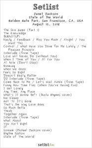 Janet Jackson @ Outside Lands Music And Arts Festival 8/12/18. Setlist.